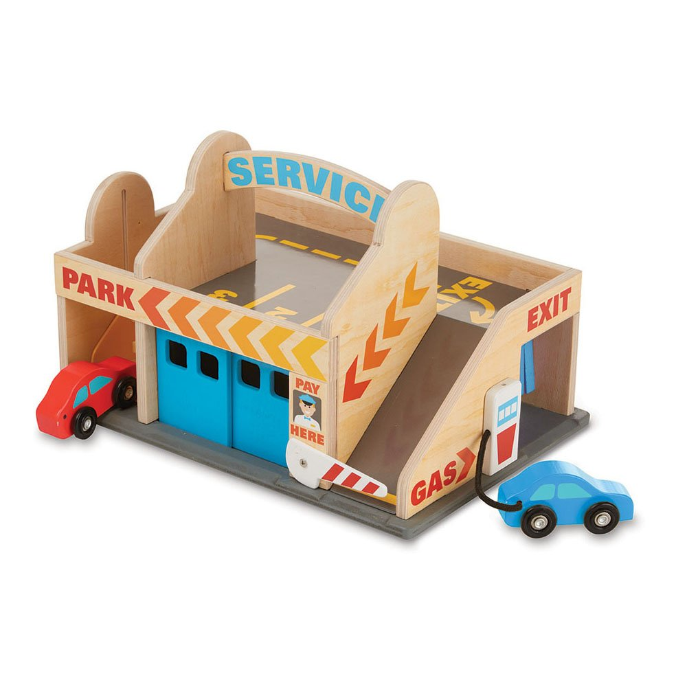 Melissa & Doug Service Station Parking Garage With 2 Wooden Cars and Drive-Thru Car Wash Melissa and Doug 9271