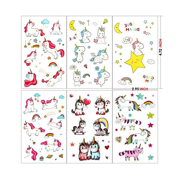 Unicorn Temporary Tattoos for Children Kids Girls(Over 300pcs),Konsait Great Girls Fake Stickers Rainbow Unicorn Birthday Party Favors Birthday Party Gift Bag Fillers 4