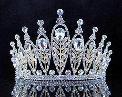 Janefashions Elegant Floral Clear Crystal Rhinestone Tiara Crown Bridal Prom Pageant T11885 Gold ()