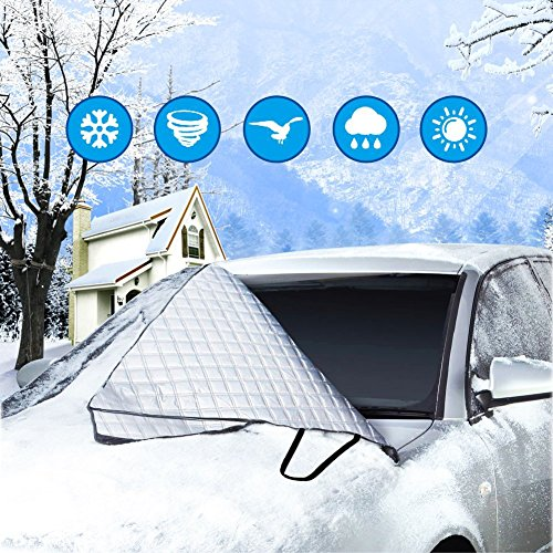 Silver Windshield (Car Windshield Cover for Ice and Snow, Heavy Duty, Frost Proof, Wind Proof, Auto Winter Protection, Outdoor Automobile Covers, Universal Size, Fits Most Cars and SUVs, by Aoraki)