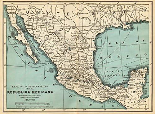 Amazon Com Mexican Railways Mapa De Los Ferrocarriles De La Republica Mexicana 1935 Old Map Antique Map Vintage Map Printed Maps Of Mexico Posters Prints
