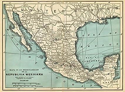 Amazoncom Mexican Railways Mapa De Los Ferrocarriles De La