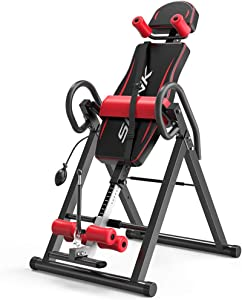 QERNTPEY Gravity Inversion Table Adjustable Height Inverted Machine Home Inverted Machine Foldable Inverted Table Bearing 120KG Easy to Use and Store (Color : Red, Size : 152x115x74cm)