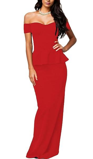 NuoReel Mujer Caída Hombro Falda Maxi Vestido de Noche - Rojo -