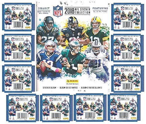2018 Panini NFL Football Stickers Special Collectors Package with 60 Brand New MINT Stickers & HUGE 72 Page Color Collectors Album! Look for Stickers of all the Top NFL Superstars & Rookies! WOWZZER! by Wowzzer