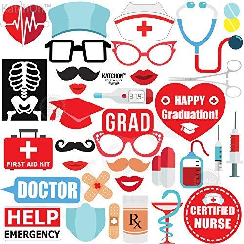 Nurse Graduation Photo Booth Props - Pack of 33 | Great Graduation Decorations for 2019 Graduation Party Supplies | Doctor Nurse Graduation Party Supplies Theme | DIY Required -