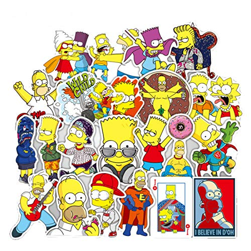 (Meet Holiday The Simpsons Decoration Stickers Waterproof Vinyl Scrapbook Stickers Car Motorcycle Bicycle Luggage Decal 50 PCS Laptop Stickers)