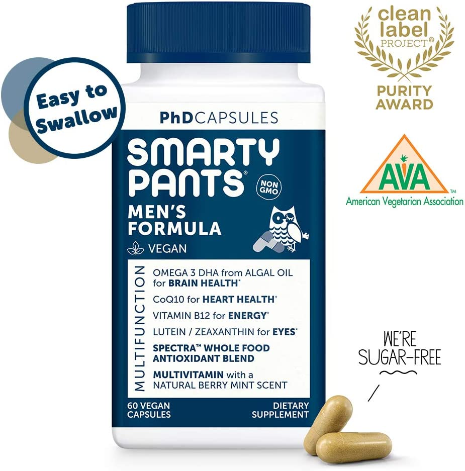 SmartyPants Daily Multivitamin for Men: Vitamin D, C, D3, E, B12 for Energy, COQ10, Omega 3 DHA, Iodine, Lutein, Folate, Vegan, Easy to Swallow Capsules, 60 count (30 Day Supply) Packaging May Vary
