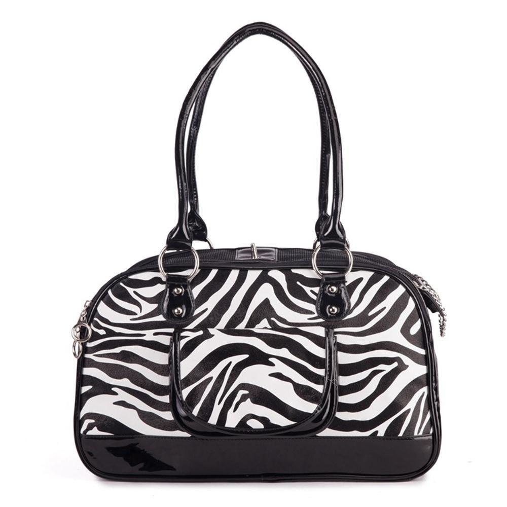 A Daeou Pet Backpack PU Black and White Striped Portable Bag Out one Shoulder Bag Dog Bag cat Bag 40cm25cm18cm