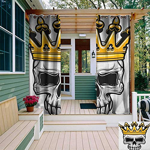 leinuoyi King, Outdoor Curtain Pair, Hand Drawn Crowned Skull Cranium with Coronet Tiara Halloween Themed Image, Outdoor Curtain Set for Patio Waterproof W84 x L108 Inch Golden and Pale Grey]()