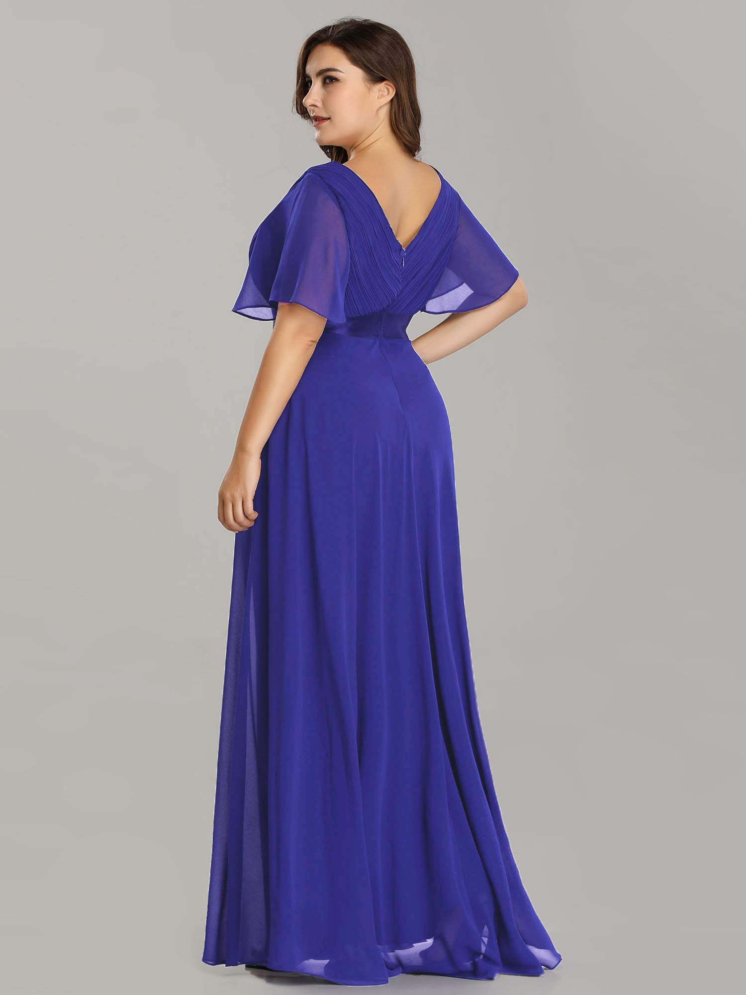 Ever-Pretty V-Neck Ruffle Sleeves Vintage Wedding Maxi Dress Plus Size  Royal Blue US24
