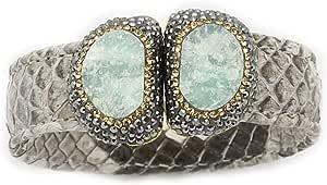 Miss Guzel Bracelet - Beige Snake Leather- Aventurine - Gold Plated