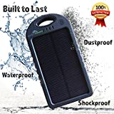 Solar Charger & 5000 mAh Power Bank, Compact Solar Phone Charger & Portable Battery Charger with Dual USB Charging Ports, Solar Charger for iPhone, Android, Military Grade Waterproof Case