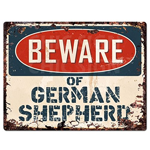 Beware of GERMAN SHEPHERD Chic Sign Vintage Retro Rustic 9