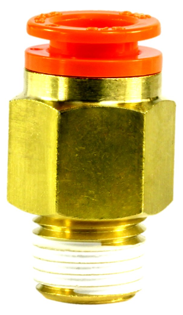3//8 Tube OD x 1//4 NPT Male Adapter SMC KQ2H11-35AS Brass Push-to-Connect Tube Fitting with Sealant
