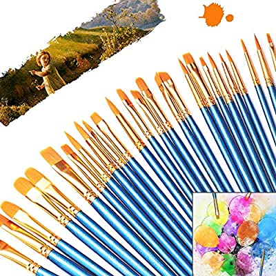 Paint Brush Set, Nylon Hair Brushes for All Purpose Oil Acrylic Watercolor Painting, 10 Sizes Acrylic Paint Brushes for Artists/Painters / Beginners/Students / Kids
