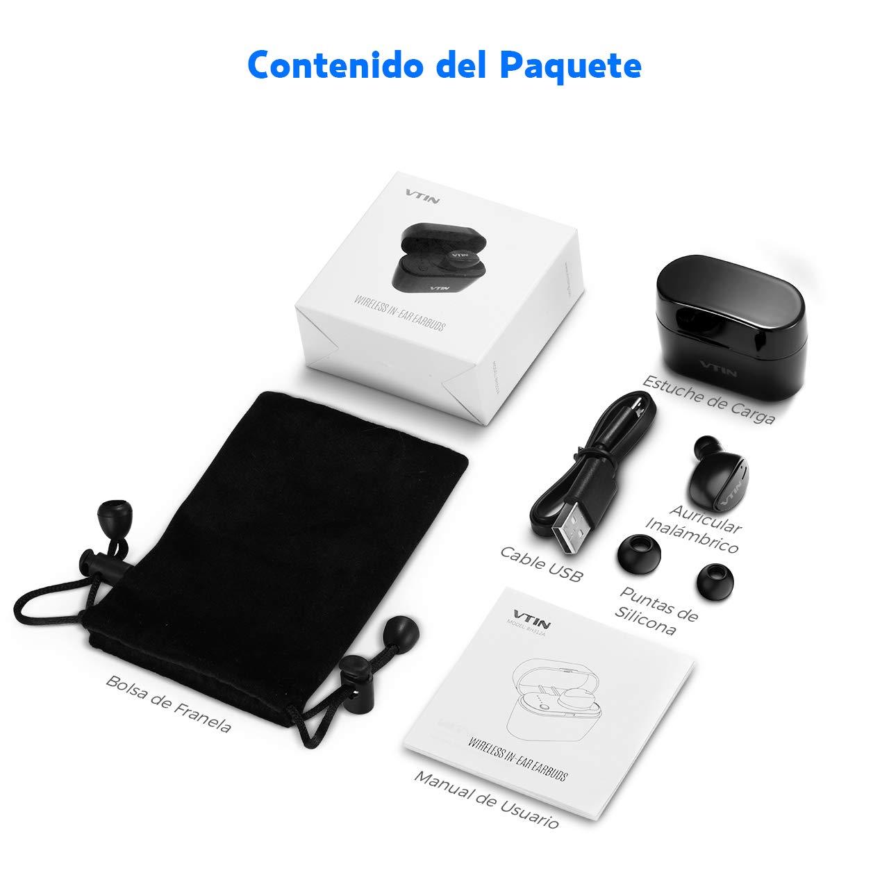 Mini Auriculares Bluetooth, VTIN Auricular Invisible Bluetooth 5.0, HD Micrófono Incorporado y Manos Libres, La Caja para Cargar en Cualquier Momento Hacer ...