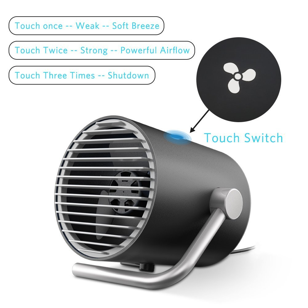 USB Table Fan, Volador Portable Personal Mini Desk Fan, PC/Laptop Cooling Fan for Home, Office, Travel (Touch Control, Dual Motor Driver, Double Blades, Whisper Quite)-Black by VOLADOR (Image #4)