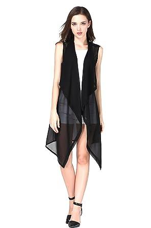 6975449a4171e Eleter Women s Summer Lapel Sleeveless Long Waistcoat Blazer Jacket Vest  Cardigan (Small