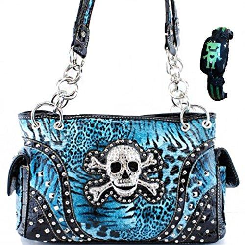 Concealed Carry Skull and Crossbones Western Handbag Animal Print Rhinestone Purse With Robot Bracelet (Animal Print Purse)