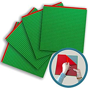 """Peel-and-Stick Baseplates - Self Adhesive Brick Building Plates - Compatible With Most Major Brands of Building Bricks - 4 pack (10"""" x 10"""") - By Creative QT (4 Green)"""