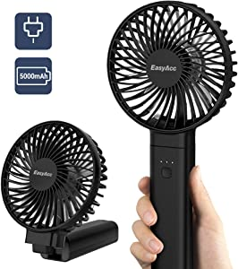 Handheld Fan, EasyAcc 5000mAh Battery Fan 2020 Upgraded Portable Fan with Unique One Touch Power Off USB Desk Fan 4-20 Hours 4 Speeds Strong Winds Personal Cooling Fan for Home Office Outdoor-Black