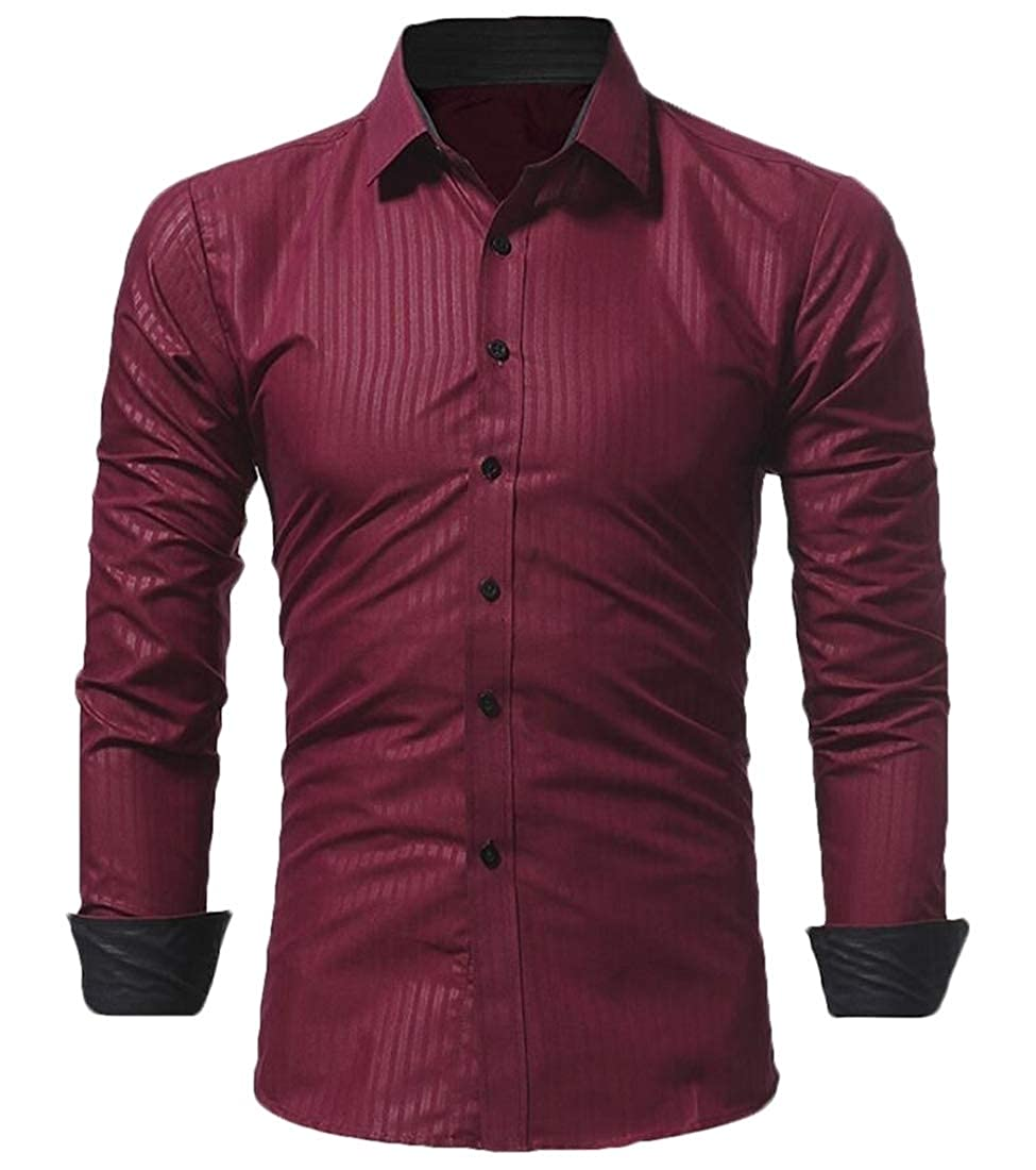YY-qianqian Mens Solid Color Casual Slim Long Sleeve Business Button Front Shirts