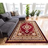 Sephan Red Traditional Oriental Sarouk Medallion 8x10 (7 10  x 9 10 ) Mansion Room Area Rug Modern Floral Easy...