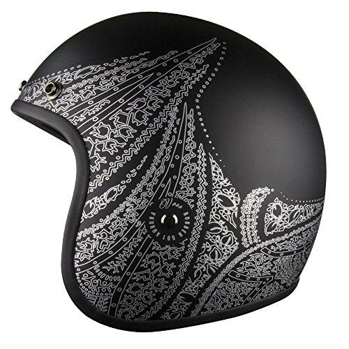 Voss 501 Bobber Open Face Retro Helmet Low Profile Lightweight - Matte Black/Silver Aurora - S (Best Open Face Motorcycle Helmet Reviews)