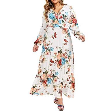 PEIZH Womens Fashion Plus Size Dress Stylish Chiffon with Belt V-Neck  Sleeveless Split Printed Floral Maxi Dress