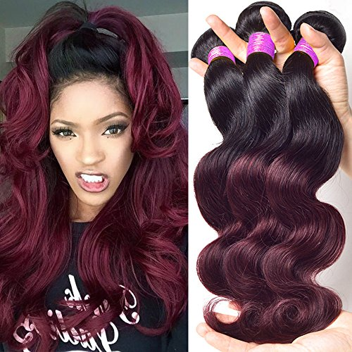 Maysu Hair Ombre Two Tone 8A Brazilian Body Wave Virgin Hair Bundles Color 1b/99j (Black Burgendy) Ombre Remy Human Hair Extensions 3pcs/lot Body Wave Brazilian Hair Weave Bundles 12 14 ()