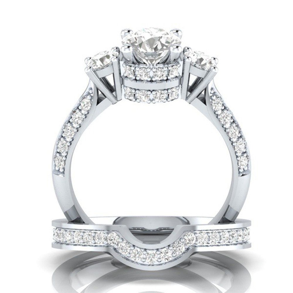 Ximandi 2-in-1 Womens Luxury White Diamond Silver Engagement Wedding Band Rings
