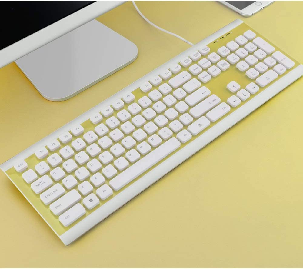 Home Office Desktop Laptop Keyboard Color : A Yan Fei Washable Wired Keyboard Floating Button//USB Interface Feeling Keyboard