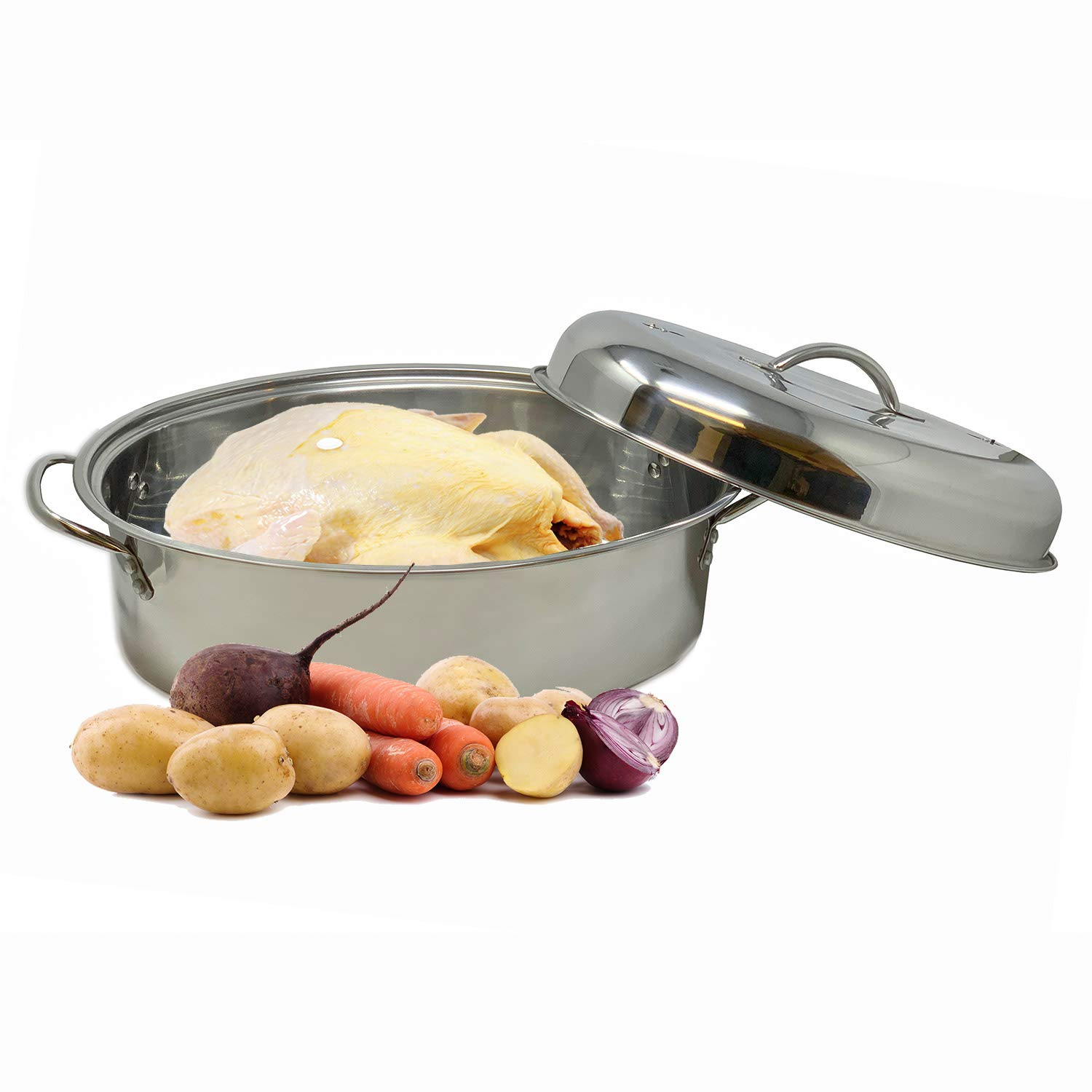 Stainless Steel Oval Lidded Roaster Pan Extra Large & Lightweight | With Induction Lid & Wire Rack | Multi-Purpose Oven Cookware High Dome | Meat Joints Chicken Vegetables 9.5 Quart Capacity by LavoHome (Image #4)