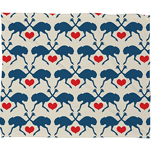 Deny Designs Holli Zollinger, Ostrich and Heart , Fleece Throw Blanket, Small, 40