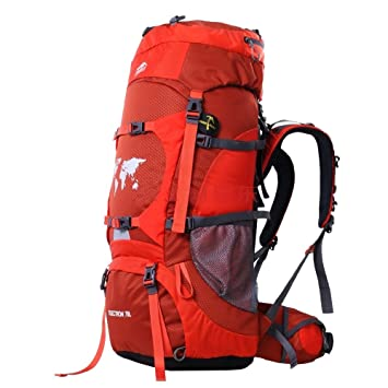 6c06d2286b Topsky® 70L Outdoor Hiking Climbing Camping Backpack Professional Waterproof  Mountaineering Bag Trekking Rucksack Large Travel Daypack (Orange)