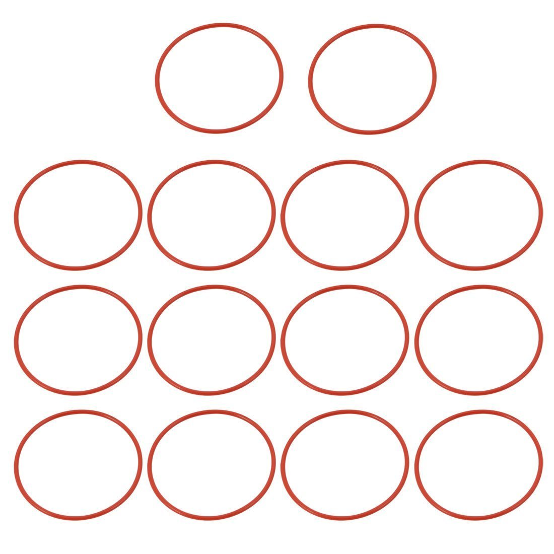 Portal Cool 14pcs Red 43mm Outer Dia 1.5mm Thickness Sealing Ring O-Shape Rubber Grommet