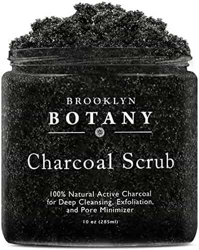 Charcoal Scrub 10 oz. - Best for Deep Cleansing & Exfoliation - Pore Minimizer & Reduces Wrinkles, Acne Scars, Blackhead Remover & Anti Cellulite Treatment - Great as Body Scrub & Facial Cleanser