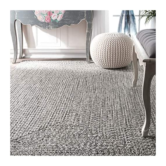 "nuLOOM Lefebvre Braided Indoor/Outdoor Runner Rug, 2' 6"" x 6', Salt and pepper - Style: Contemporary, Solid & Striped, Outdoor, Coastal Material: 100% Polypropylene Weave: Braided - runner-rugs, entryway-furniture-decor, entryway-laundry-room - 61eaJ SRhlL. SS570  -"