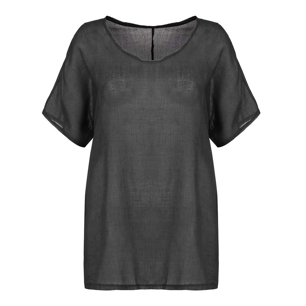 2019 Plus Size Women Casual Loose Linen Vest Summer Solid O-Neck Short Sleeves Top T-Shirt Blouses S-5XL (Dark Gray, S)