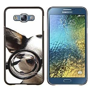 TECHCASE---Cubierta de la caja de protección para la piel dura ** Samsung Galaxy E7 E700 ** --Gafas perro Chihuahua Mascota canina Blanca