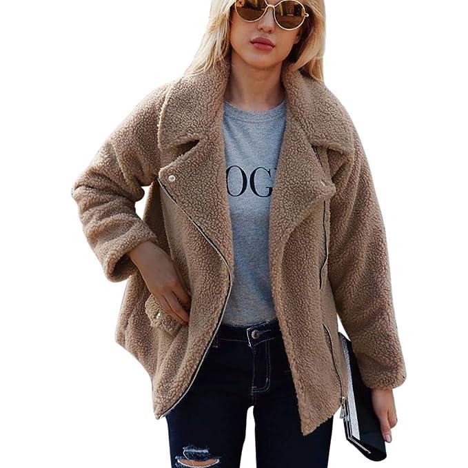 ... BBestseller Camisetas para Mujer cálido Abrigo de Cremallera Invierno Blusa Prendas de Vestir suéter de Color sólido Lana de imitación Jacket: ...