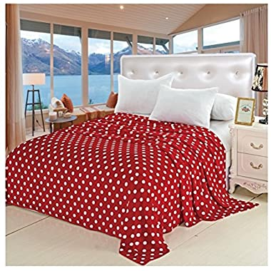 Soft Touch King Size (102  x 86 ) Polka Dot Micro-Fleece Blanket - Red