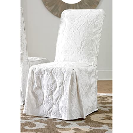 Sure Fit Matelasse Damask Dining Room Chair Cover White