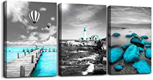 Black and white landscape Watercolor painting wall decoration for living room 3 piece Blue ocean canvas wall art for bedroom modern Bathroom wall decor office Wall Artworks Pictures home decoration