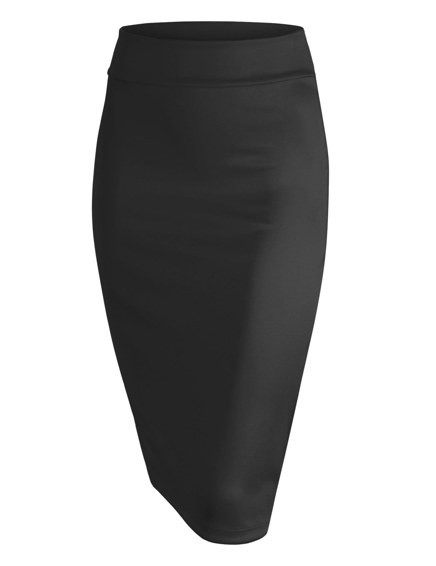 Made By Johnny WB700 Womens Scuba Midi Skirt S Black