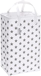 """Sea Team 23.6"""" Large Size Canvas Fabric Laundry Hamper Collapsible Rectangular Storage Basket with Waterproof Coating Inner and Handles, Grey Star"""
