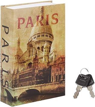 Caja fuerte para libros de desviación con cerradura de llave, caja fuerte oculta de diseño clásico, 9 1/2 pulgadas x 6 x 1 1/3 pulgadas, mediano: Amazon.es: Bricolaje y herramientas