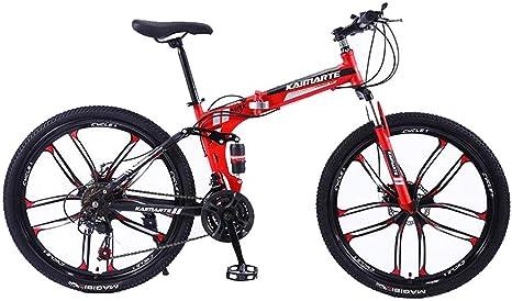 """JLASD Bicicleta Montaña 26"""" Las Mujeres/Hombres De Bicicletas De Montaña 21/24/27 Plazos De Envío Marco Plegable De Acero Al Carbono De Doble Suspensión De Ruedas Integral: Amazon.es: Deportes y aire libre"""