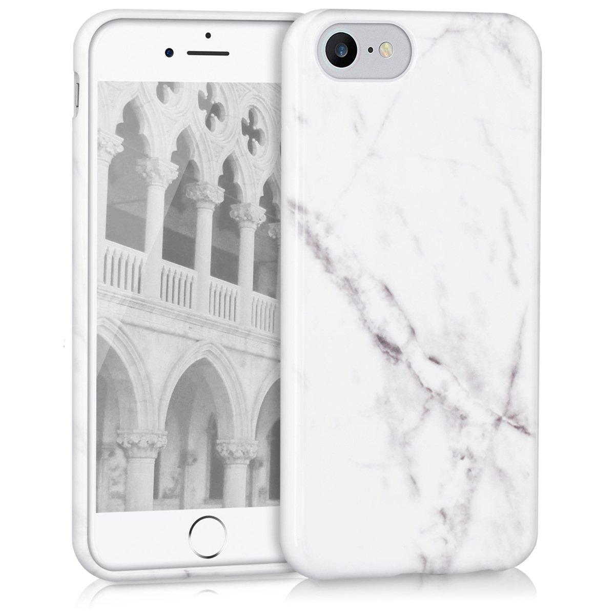kwmobile Funda para Apple iPhone 7/8 - Carcasa de TPU para móvil y diseño de mármol clásico en Blanco/Negro